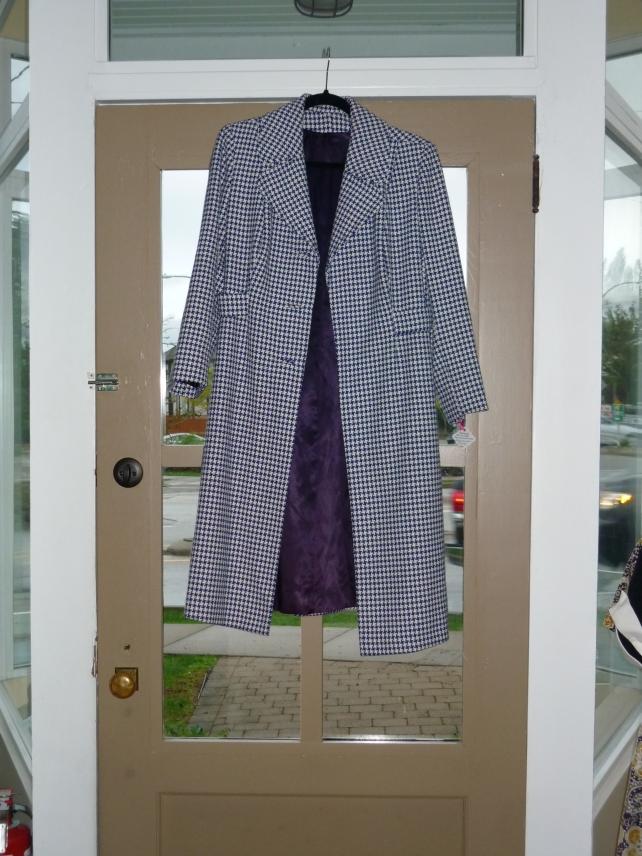 Blue and White Herringbone coat