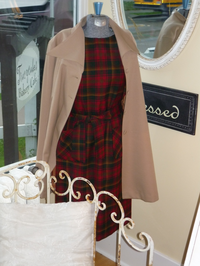 Red plaid wool jumper and camel-coloured cape.  SO fall!