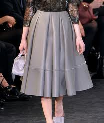 grey leather a-line skirt