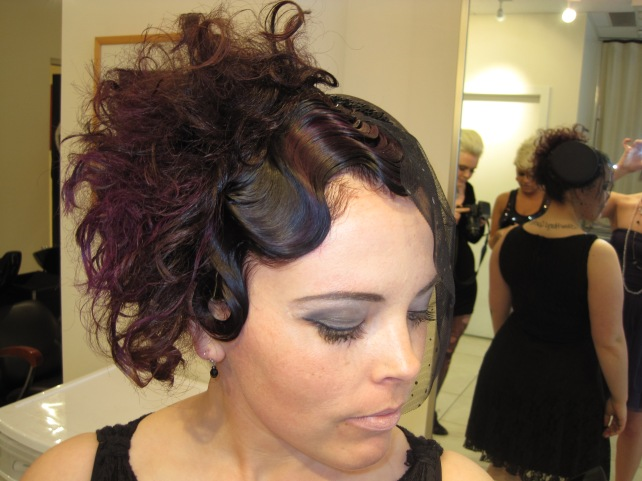 This was for my cousin's hair show in Vancouver.  Finger waves, teasing, and there was some purple in there.  I would never do this style on purpose, but it was a fun day!