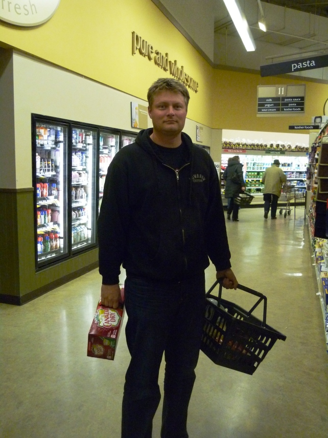 My shopping (and life)partner, the basket-carrying Jeff.  He's such a sport to let me take pictures of him like this, then post them on the internets.