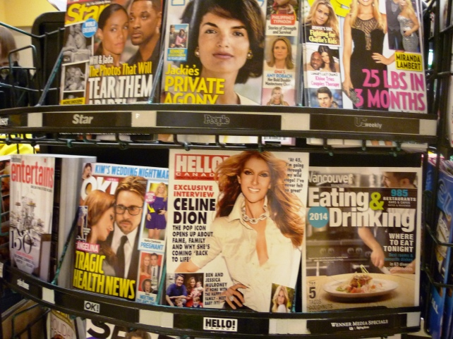 Magazines, the best part of checkout.  I don't buy the trashy ones, but I do scan them.