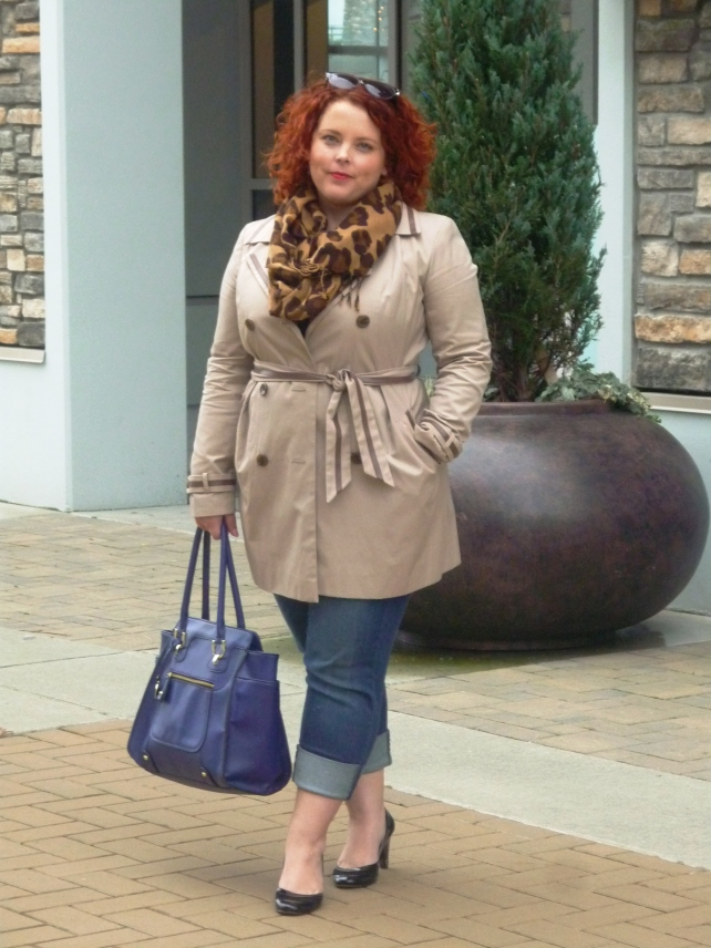 Me in a beige trench and jeans.