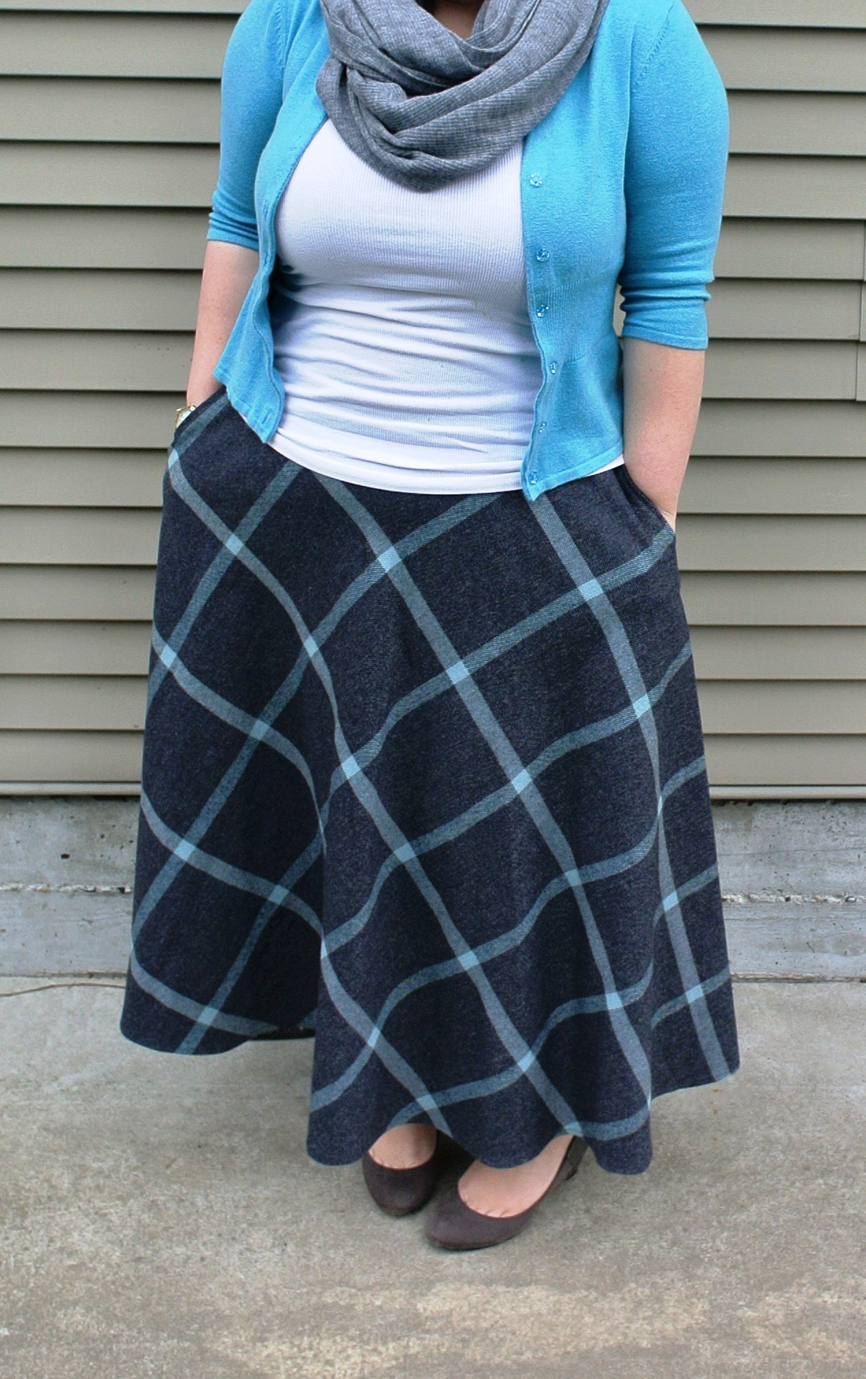 Gray Plaid Maxi Skirt