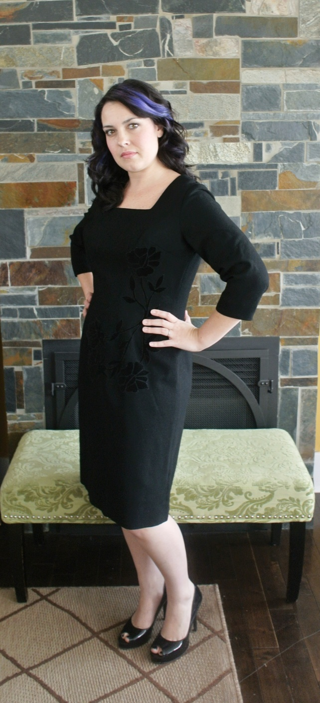 Square neck, knee length, three quarter sleeves = the perfect LBD.