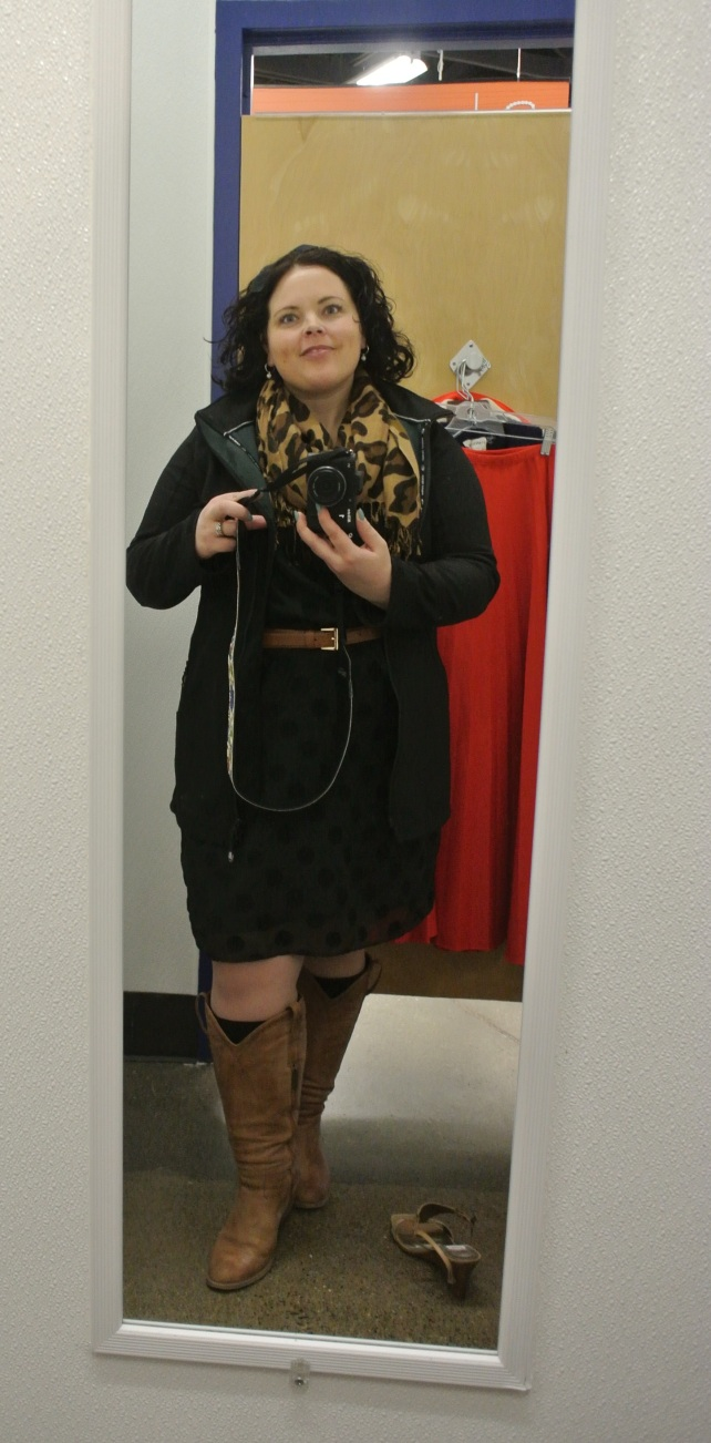Me in the dressing room wearing a water-repellent coat from Plum, thrifted scarf, etsy hair bow, gap factory dress, and duo boots with black socks from...somewhere.  This outfit was perfect for the day!