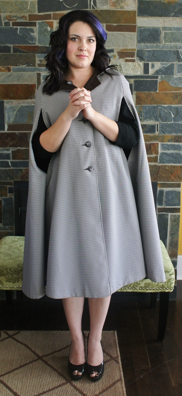 Next up: this 60s cape.  It's a bit longer than capes made today, which makes it a bit more elegant and functional in my opinion.  It's also reversible and has a hood!