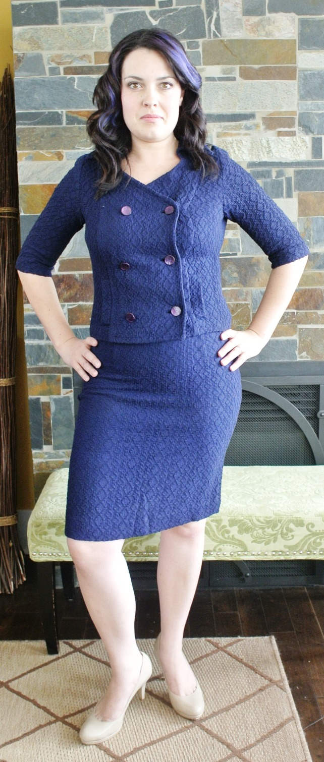 Sticking with the nautical theme, we have a 60s sweater suit.  Corine said this was really comfortable, and as you can see it looks incredibly flattering on her.