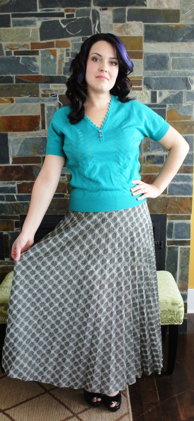 Two new pieces: a little turquoise summer sweater with a shimmery knife-pleat maxi skirt.  The skirt is one of those pieces I would wear with chucks and a tank top as well as heels and a dressier top, all summer long.