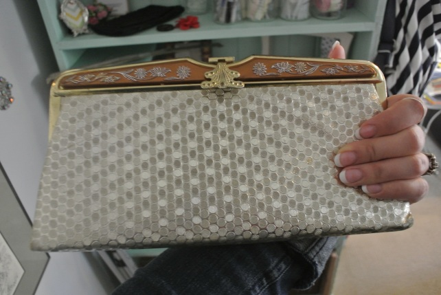 This gorgeous clutch I just listed in my etsy shop.  I have seriously never seen anything like it, it's amazing!