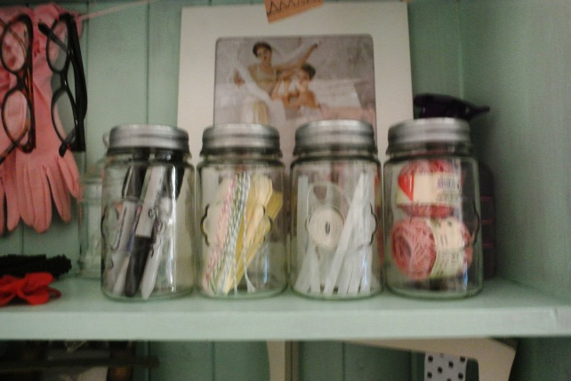 These little jars from Target hold string, glue sticks, labels and pens.