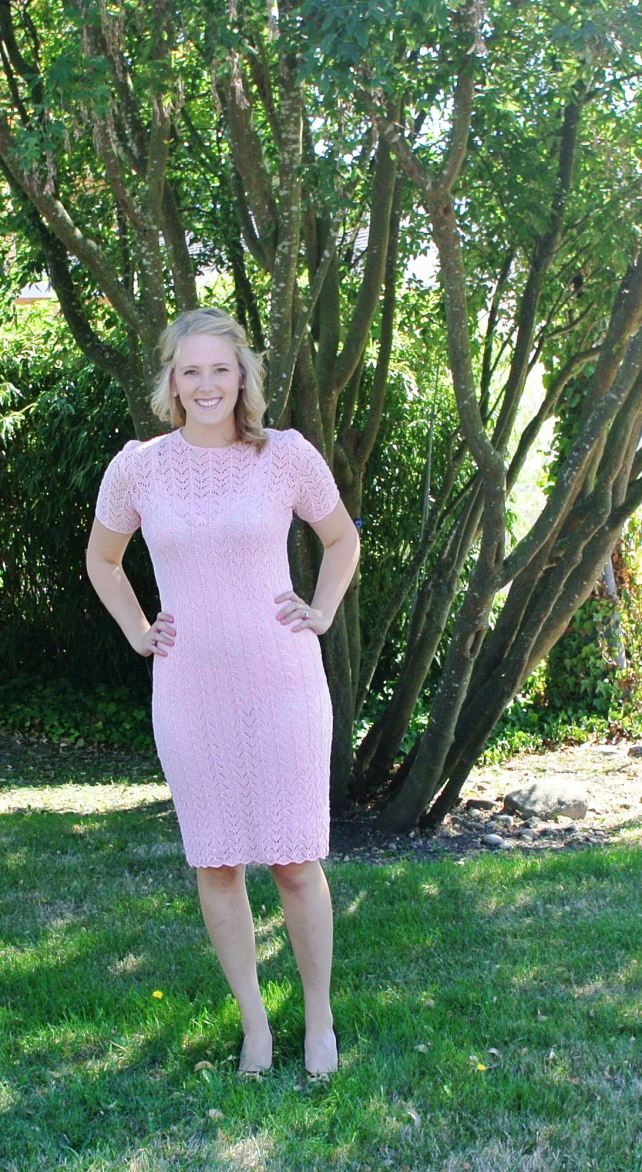 Pink scalloped edge crochet dress