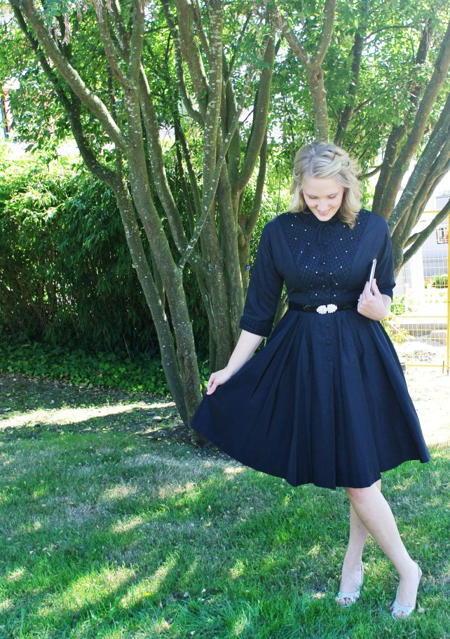 Black 50s fit and flare party dress
