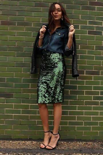 Green sequin skirt and chambray shirt