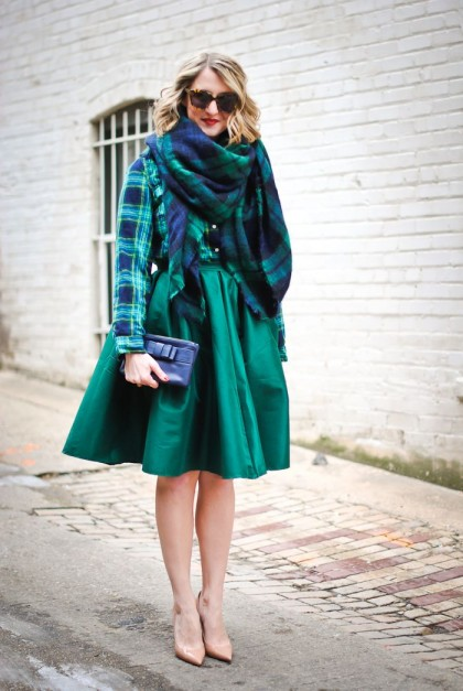 Green midi skirt and plaid shirt