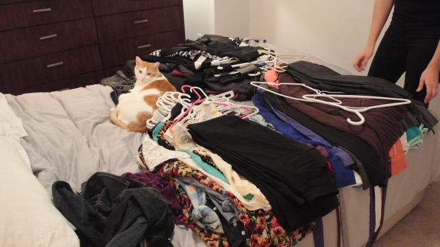 And it all goes on the bed for sorting...