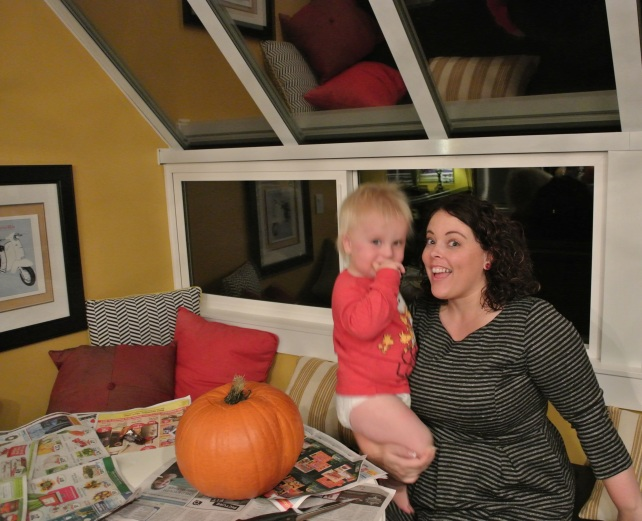 Here's me and the cake monster about to carve a pumpkin.
