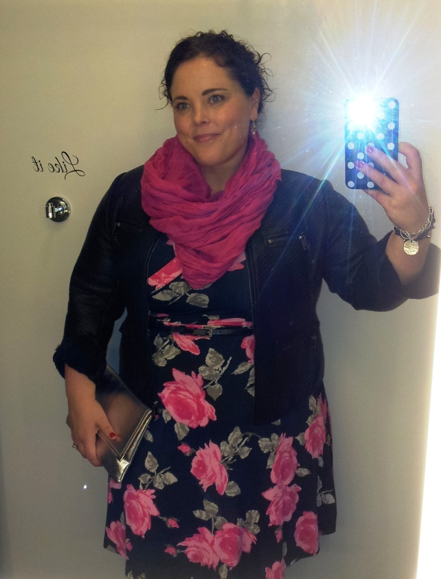 Selfie in the changing room! I haven't worn this dress in years, and I had never worn it with a crinoline underneath until that night.  The verdict: total win!