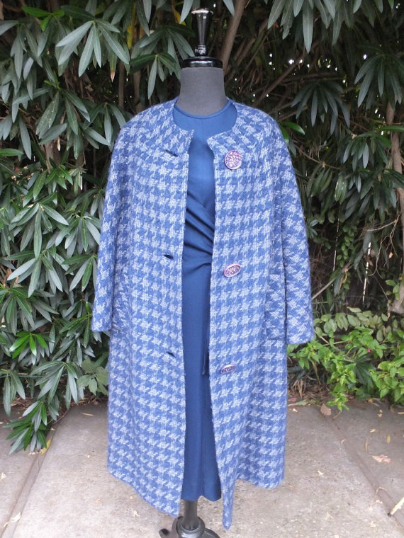 Blue Hounds tooth car coat with huge silver buttons.