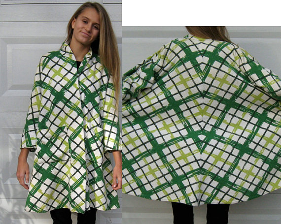 Green Plaid swing coat