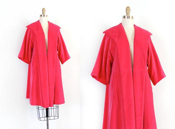 Pink Velvet 50s Swing Coat