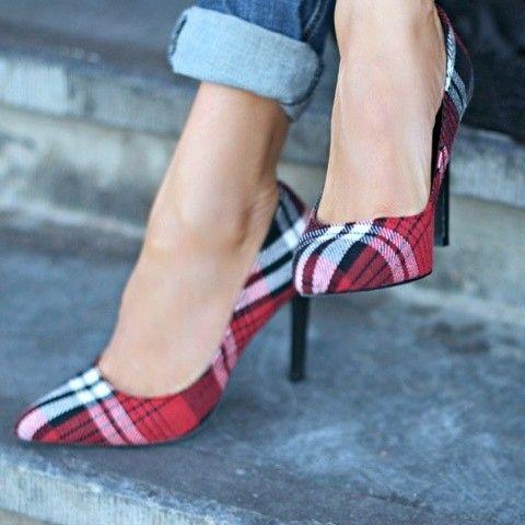 plaid heels