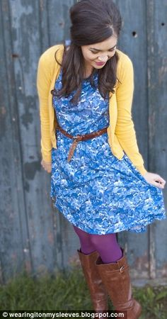 Cool blue summer dress gets a winter makeover when you add a warm yellow cardi, brown boots and belt, and purple tights for contrast.  It doesn't match, it GOES.