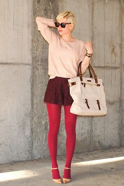 Shorts in winter?  No problem!  Simply add a thin sweater, big bag, dress heels and some opaque red tights.