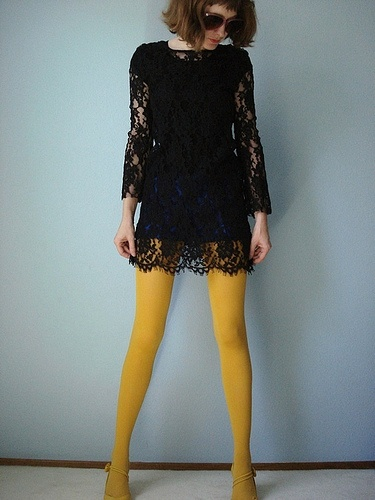 Black lace and mustard