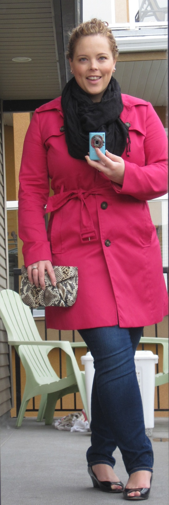 Me in a pink trench and jeans.