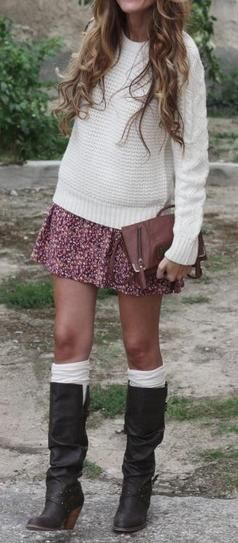 This sweater warms up a summer dress paired with tights and boots.