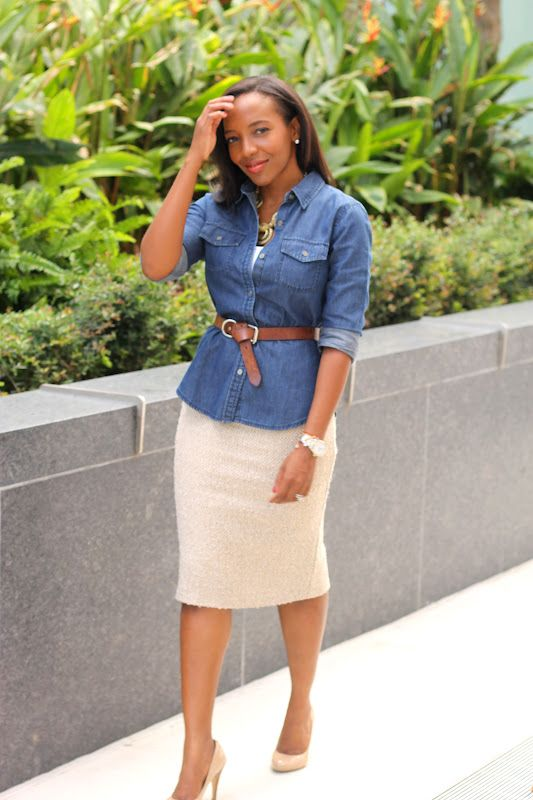 Professional sheath goes a little more casual with a belted chambray top
