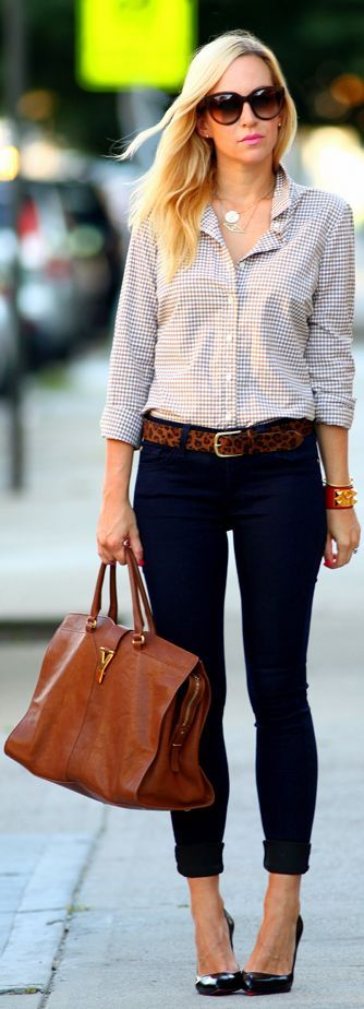 Leopard belt adds interest to a simple outfit.