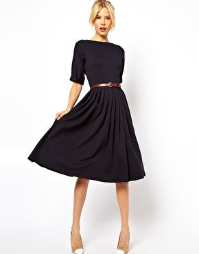 Belt a work dress.  Btw: black and brown together is incredibly chic!
