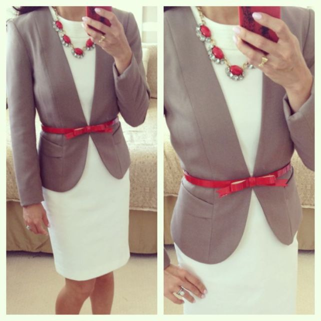 Bow belt a simple blazer.