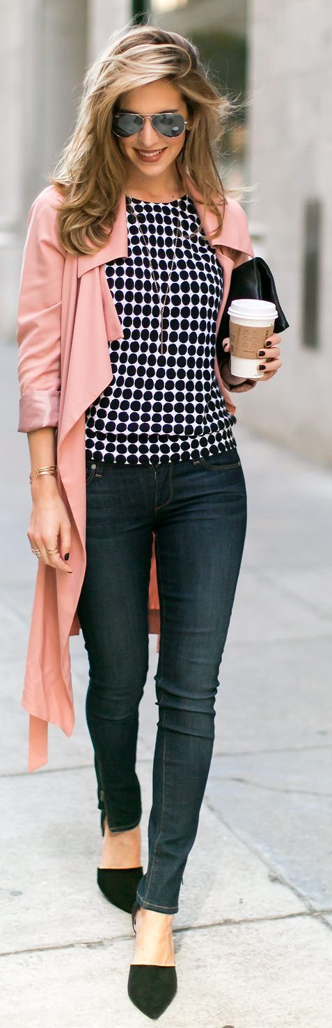 Try a muted pink coat with a casual ensemble to girly it up a bit.