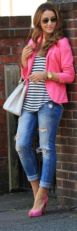 Pair a pink blazer with casual jeans and a striped tee, and you magically look put-together!