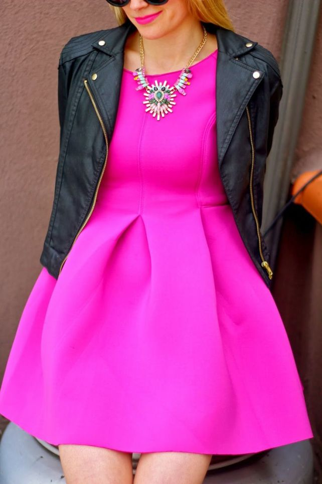 Go for broke in a pink fir and flare, and to toughen it up a bit, pair with a moto jacket.