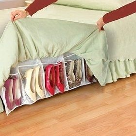 This is also ingenious: shoe storage as a dust ruffle.  o-m-geee!