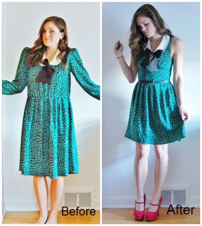 A frumpy dress gets a little makeover.