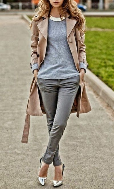 Great-fitting trench dresses up a chill outfit and fancy shoes.