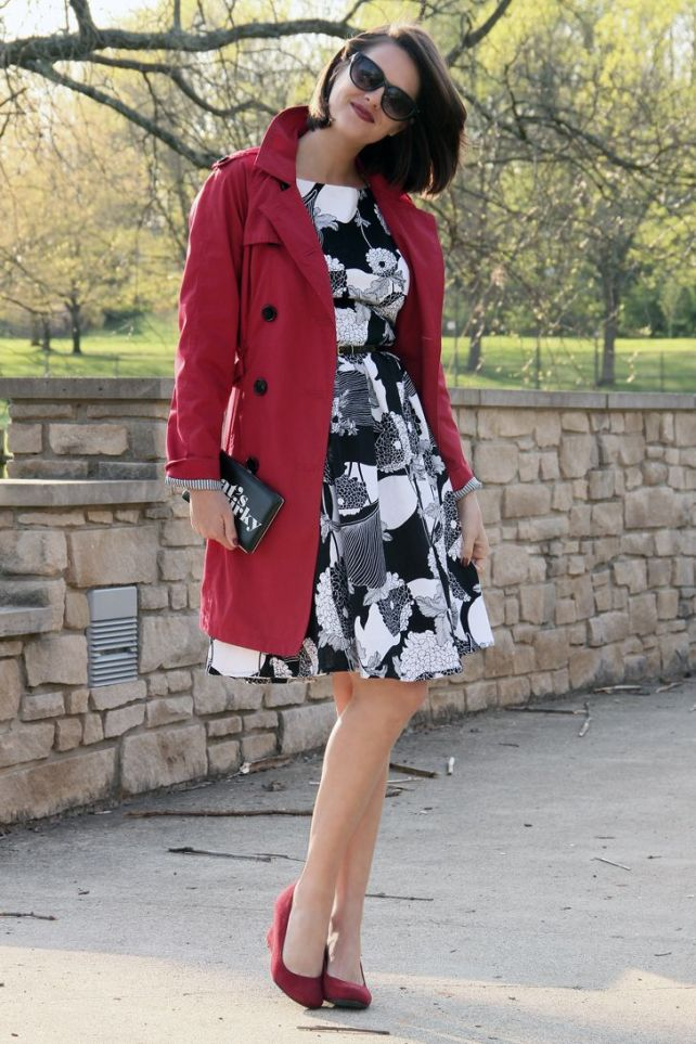 Red trench tops a neutral dress.