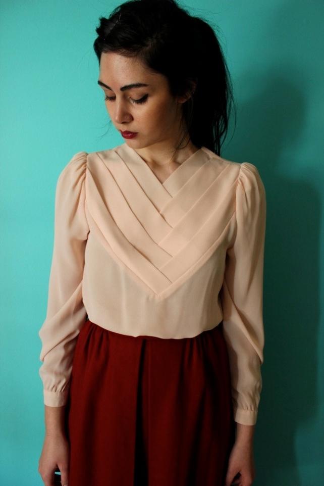 Blush pink 80s blouse.