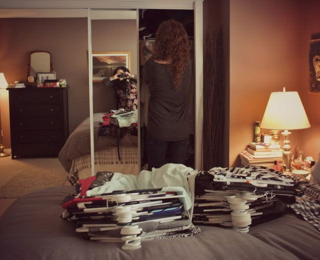 First step: empty closet contents onto the bed.
