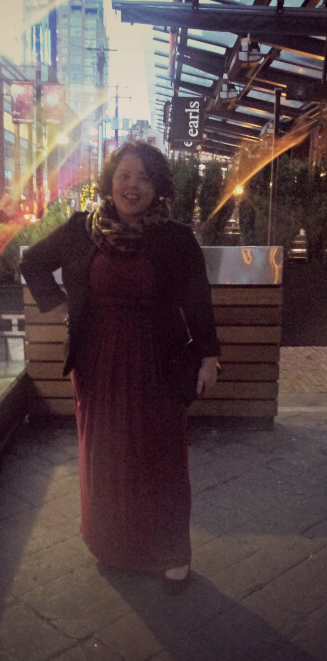 My outfit: I was pretty tired, so I wanted to wear something super comfortable but still look put together.  Solution?  A maxi dress of course!  I paired my red maxi with a black blazer, leopard scarf, black wedges and a black eel skin clutch.  I felt like I was wearing pj's, but looked like I was going out.