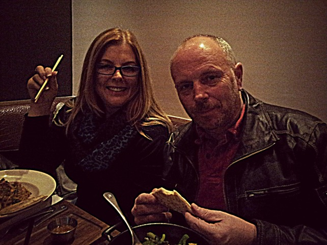 My crazily supportive parents and their noodle bowls.  Love them!