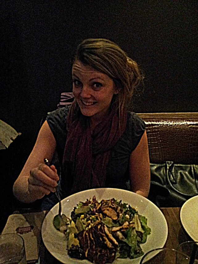 My beautiful little sister and her salad.  Seriously, you guys: best salad in the world is called the Santa Fe chicken salad at Earls: check it out.