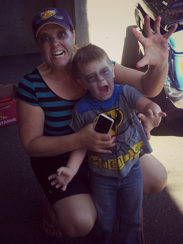 On Zombie Walk day in White Rock, all done up with my nephew Holden.