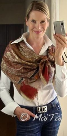 More of a pashmina, this look says : hi.  I'm creative!  Get to know me!  Need: white button-up, larfe patterned pashmina.