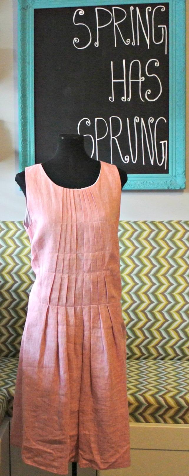 pink linen dress 1